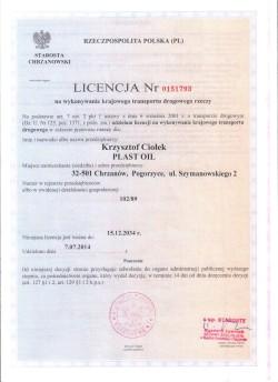 LICENCJA NR 0151793 na wykonywanie krajowego transportu drogowego rzeczy